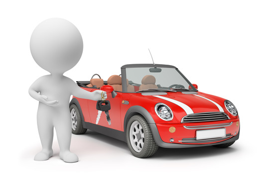 3d small people - with car keys. 3d image. Isolated white background.